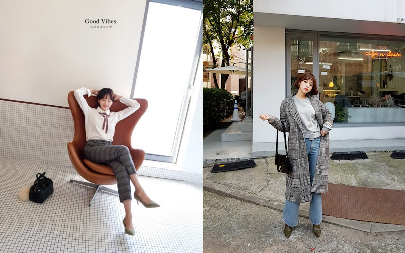 チェック柄の韓国ファッション