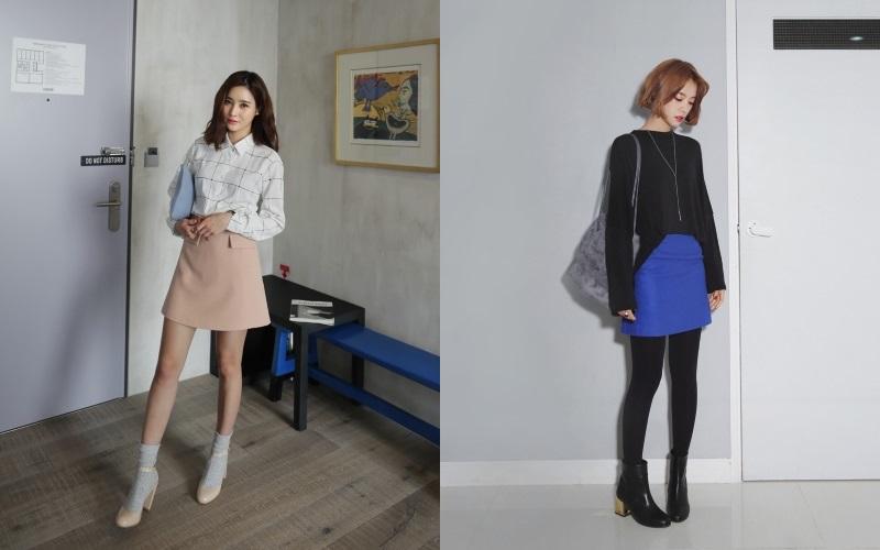韓国スカートのコーディネート